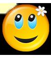 Lachende Smiley mit Blume